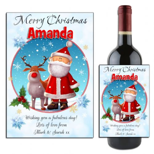 Personalised Christmas Santa & Reindeer Wine / Champagne Bottle Label N159
